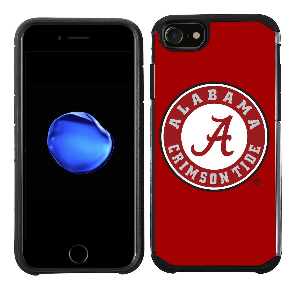 NCAA Licensed The University of Alabama Crimson Tide Prime Brands Group Textured Team Color Cell Phone Case for Apple iPhone 8//7//6S//6 NCAA-TX1-i8-UA