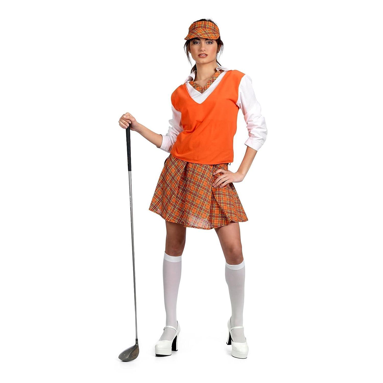 Sexy Golfer Fancy Dress Golf Costume Women Orange White Xl