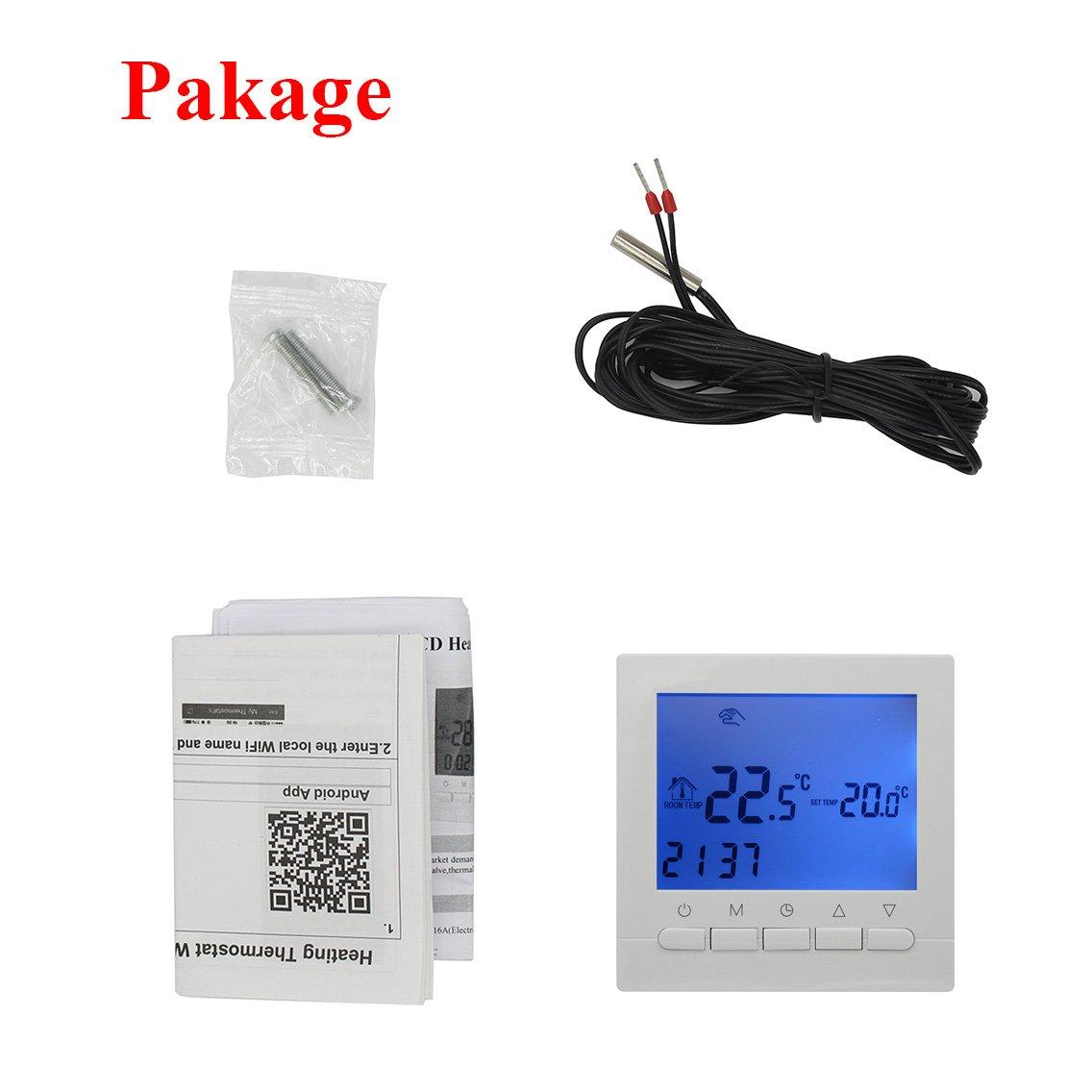 16A - Termostato Inteligente WIFI inalambrico por smartphone APP - y Termostato digital programable controlador programador semanal: Amazon.es: Bricolaje y ...