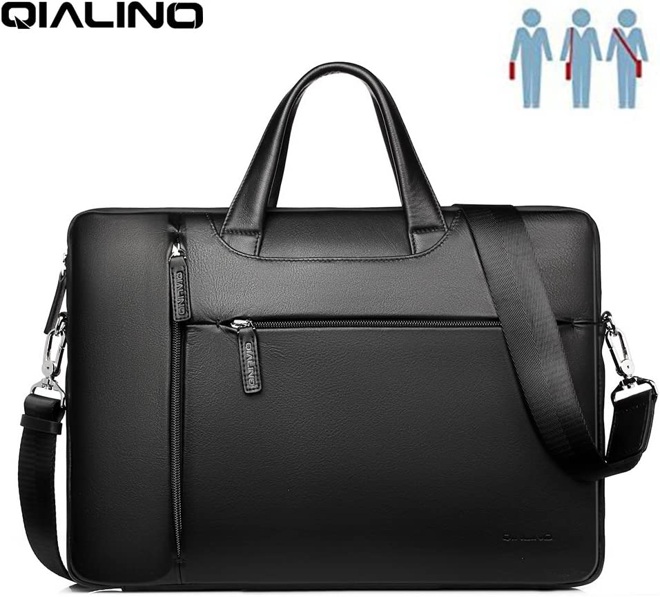 """15 inch Laptop Bag, QIALINO Water-Proof Genuine Leather Briefcase Carrying Case/Shoulder Bag for 15"""" MacBook Pro 2016/Acer Swift/Dell XPS/HP/AUSU/Microsoft Surface/Lenovo/Xiaomi Mi Notebook, Black"""