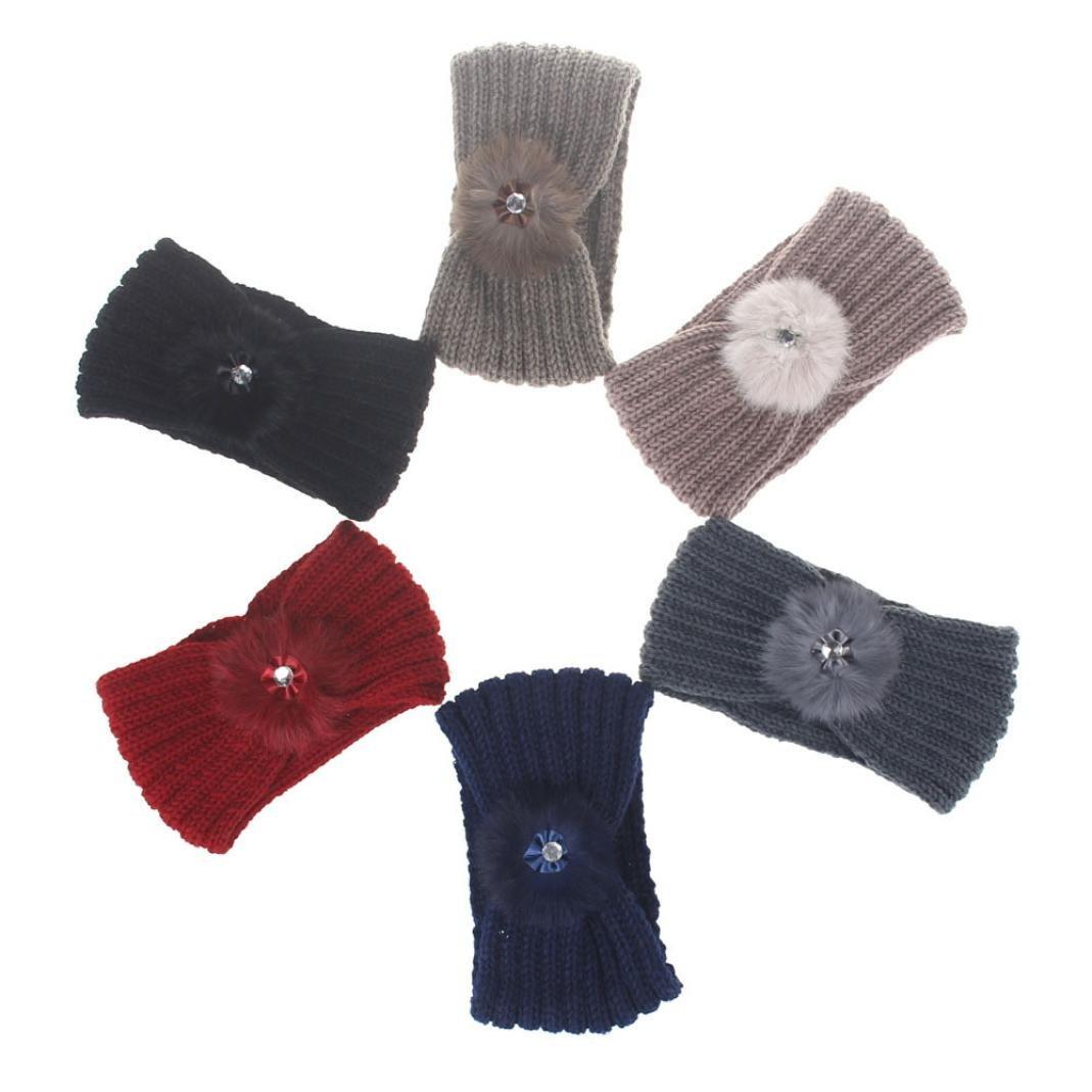 Gillberry Women Hair ball Knitting Headband Elastic Handmade Keep Warm Hair Band For Women (Black)