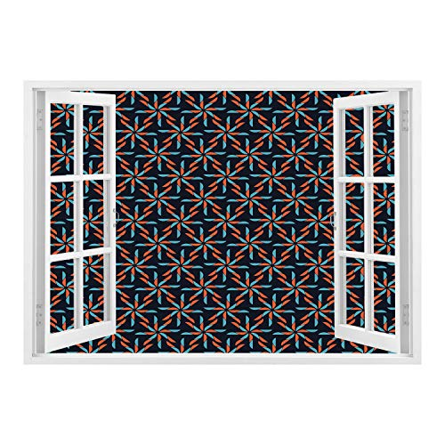 Pearl Pinwheel - SCOCICI Creative Window View Home Decor/Wall Décor-Geometric,Pinwheel Designs with Dark Toned Backdrop Abstract Pattern Star Motifs,Indigo Vermilion Blue/Wall Sticker Mural