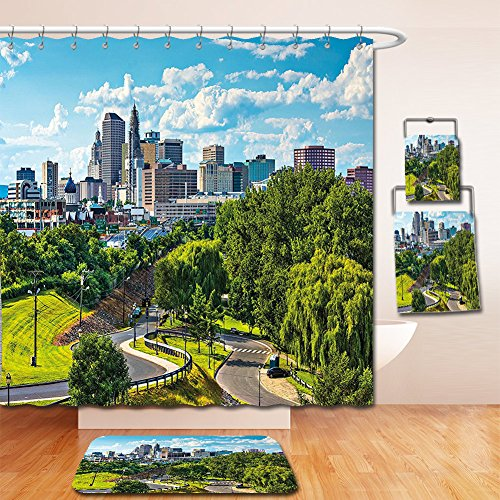 Nalahome Bath Suit: Showercurtain Bathrug Bathtowel Handtowel United States Hartford Connecticut USA Downtown Cityscape Aerial View Modern Life Sky Blue Green - Outlets Premium Connecticut