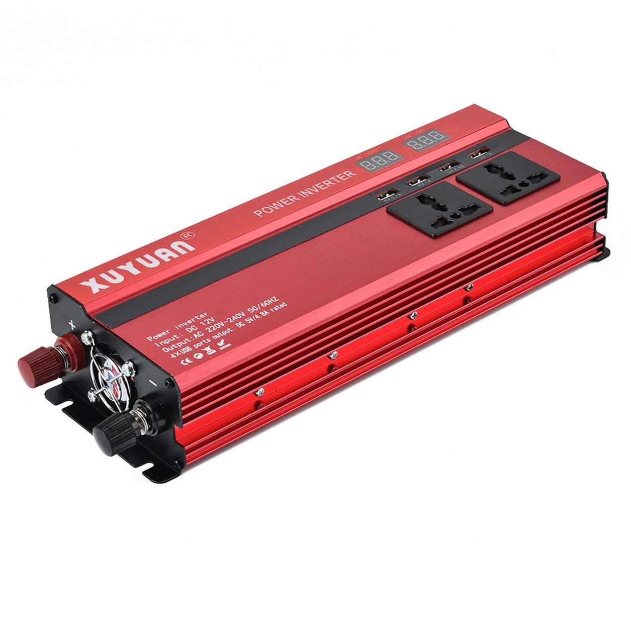 Dailyinshop Auto-Energie-Inverter Xuyuan 2000W mit LED-Anzeigen-Konverter 12V / 24V zu 220V (Farbe: Rot)