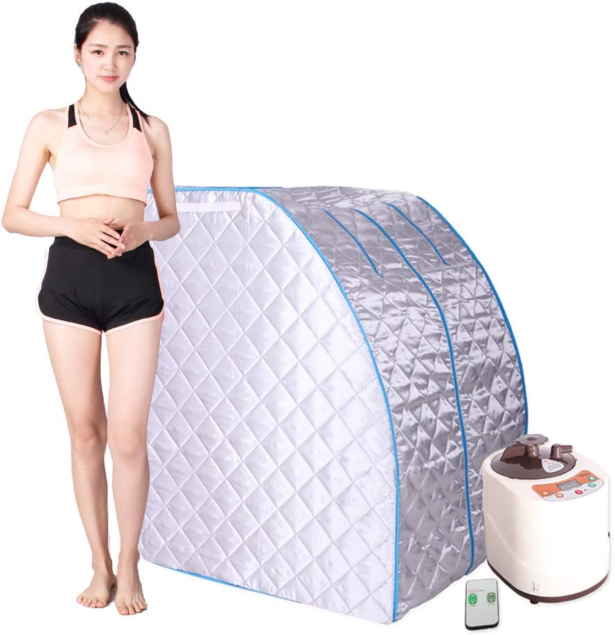 Smartmak Portable Steam Sauna, at Home Full Body One Person Spa Tent, 2L Steamer with Remote Control, eco-Friendly Indoor Weight Loss Detox Therapy, Herbal Box Included(US Plug)- Blue Border