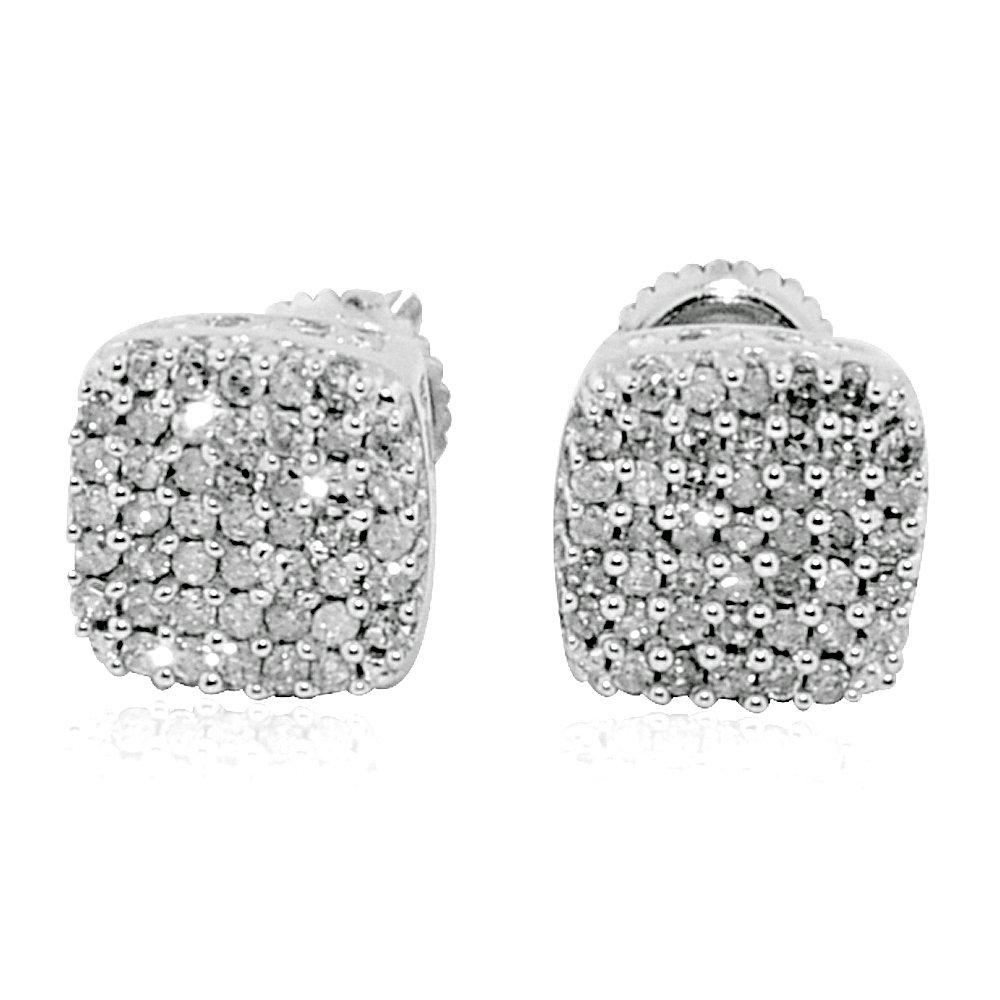 0.2cttw 1//5cttw Diamond Stud Earrings 10K White 7mm Wide Screw Back Cluster Fashion Earrings