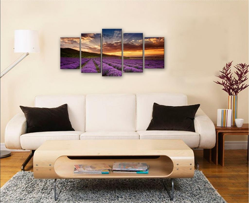 wall portraits living rooms.  Art Provence Lavender Modern 5 Piece Giclee Canvas Prints Contemporary Landscape Purple Flowers Pictures Paintings on Wall for Living Room Amazon com Wieco