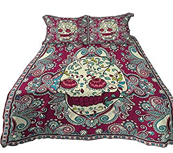 A Anoleu Clearly Digital Printed Skull Combined with Paisley Bedding Set 3 PCs,Reverse 100/% Purple Cotton King Printed Sugar Skull Duvet Cover Set