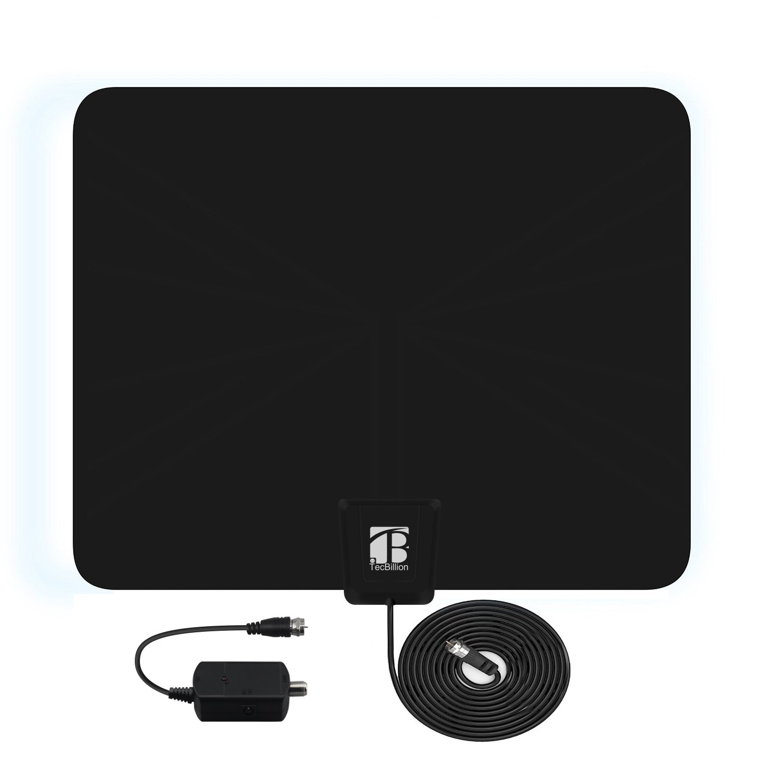 TecBillion 30-50 Mile Range Flat HDTV Antenna with Detachable Amplifier- Flat and Super Thin, Digital 1080P TV Antenna with 15ft Copper Braided Coax Cable, Home and Car Applicable