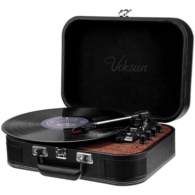 Tocadiscos de Vinilo,VOKSUN Tocadiscos Bluetooth y codificador Digital con 3 velocidades 33/45/78 RPM incorporadas 2 Altavoces estéreo Aux-In RCA, ...