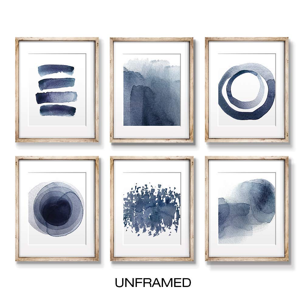 Wall Art Prints for Living Room Bedroom Kitchen | Abstract Blue Watercolor Paintings | Digital Prints | Home Decor Accents | Home Decorations | 8X10 | Set of 6 | Unframed