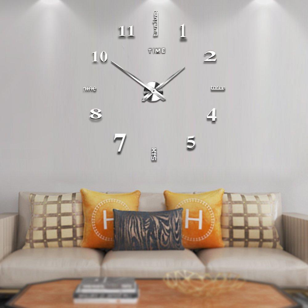 Amazon Modern Frameless Diy Wall Clock Large 3d Wall Watch Non
