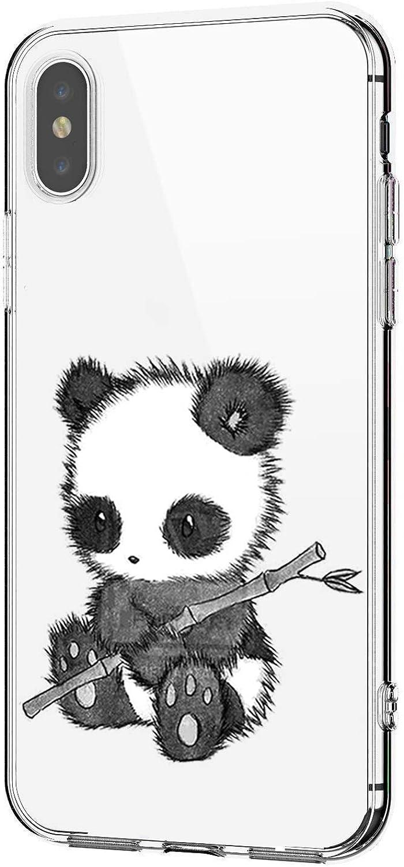 Riyeri H/ülle Compatible with Apple iPhone Xr H/ülle iPhone Xs Handyh/ülle Klar TPU Silikon Netter Panda Muster Sto/ßd/ämpfend Bumper SchutzH/ülle f/ür Apple iPhone Xs Max Phone