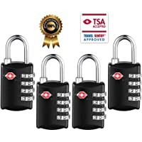 TSA Luggage Locks,TSA Approved Travel Combination Luggage Locks for Suitcases-4 Pack (Black-4)