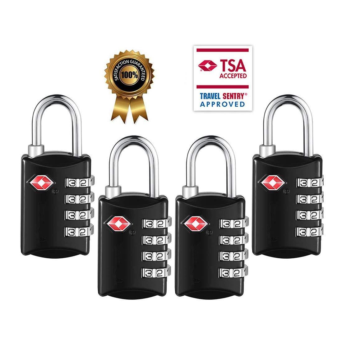 TSA Luggage Locks,TSA Approved Travel Combination Luggage Locks for Suitcases-4 Pack (Black4)