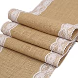 12x108 inch Burlap Hessian Table Runner with Lace, Country Rustic Wedding Recaption Table Decoration ,Baby & Bridal Shower Décor, Farmhouse Kitchen Decor (White)