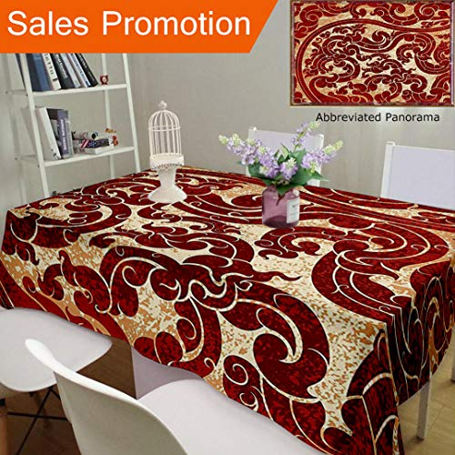 and Linen Blend Tablecloth Antique Decor Thai Culture Vector Abstract Background Flower Pattern Wallpaper Design Print BurCustom Tablecovers for Rectangle Tables, 78 x 54 Inches ()