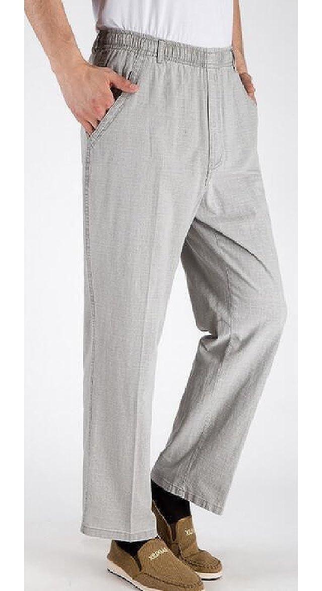 FLCH+YIGE Mens Cotton Linen Elastic Waist Loose Fit Pants Trousers