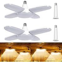 DEHUB Garage Lighting 60W LED Garage Lights 3500K Warm White, Dimmable Light Bulbs Deformable Work Light, E26/E27 Shop…