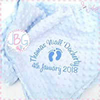 Luxury Personalised blue bubble Baby Blanket,baby boys blanket, Baby Gift, Christening/Baby shower gift