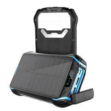 Soluser Solar Power Bank 26800mAh Power Cargador Solar Móvil Portátil Batería Externa con 3 Salidas USB 3.1A y Linterna LED para iPhone iPad Samsung ...