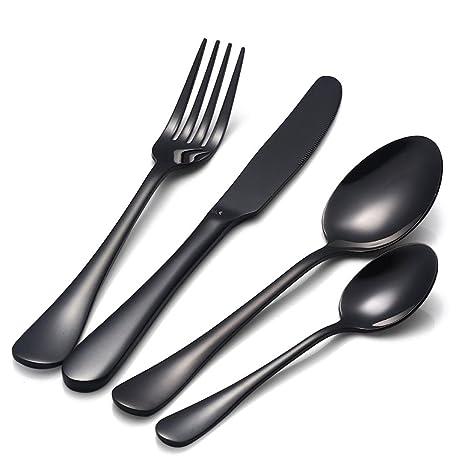 SODIAL Negro Juego de cubiertos de acero inoxidable Cucharadita Cuchillo tenedor de cena Vajilla cuberteria occidental