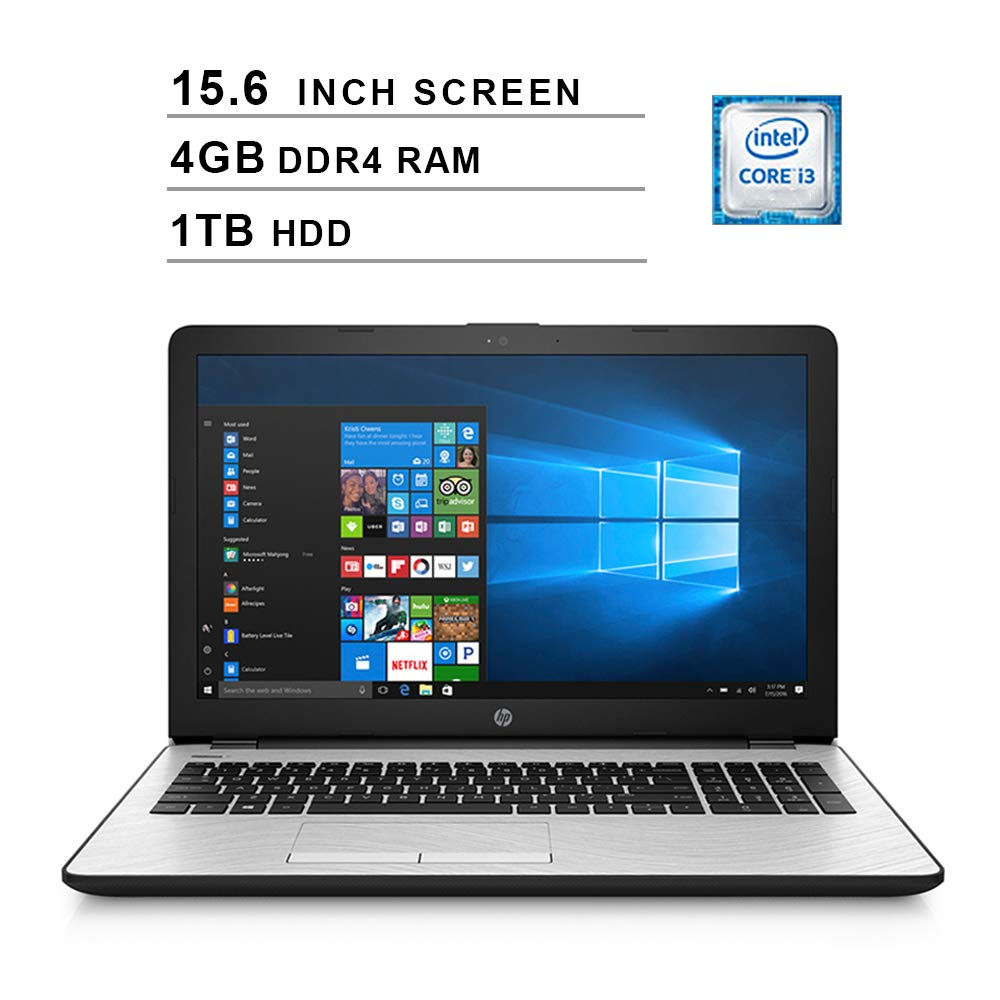 HP 2019 Newest 15 15.6 Inch HD Laptop Intel Dual Core i3-7100U 2.4 GHz, 4GB RAM, 1TB HDD, Intel UHD Graphics 620, WiFi, HDMI, Bluetooth, Windows 10 Silver