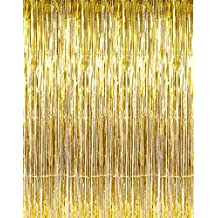 """Set of 2 Shiny Gold Metallic Foil Fringe Door & Window Curtain Party Decoration 3' X 8' (36"""" X 96"""") """"Value Pack of 2"""""""