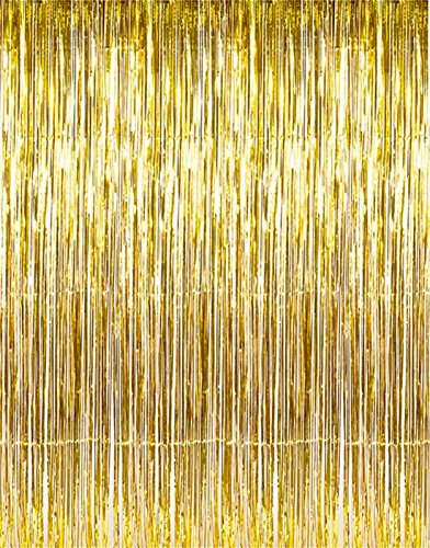 Set of 2 Shiny Gold Metallic Foil Fringe Door & Window Curtain Party Decoration 3 X 8 (36 X 96) Value Pack of 2