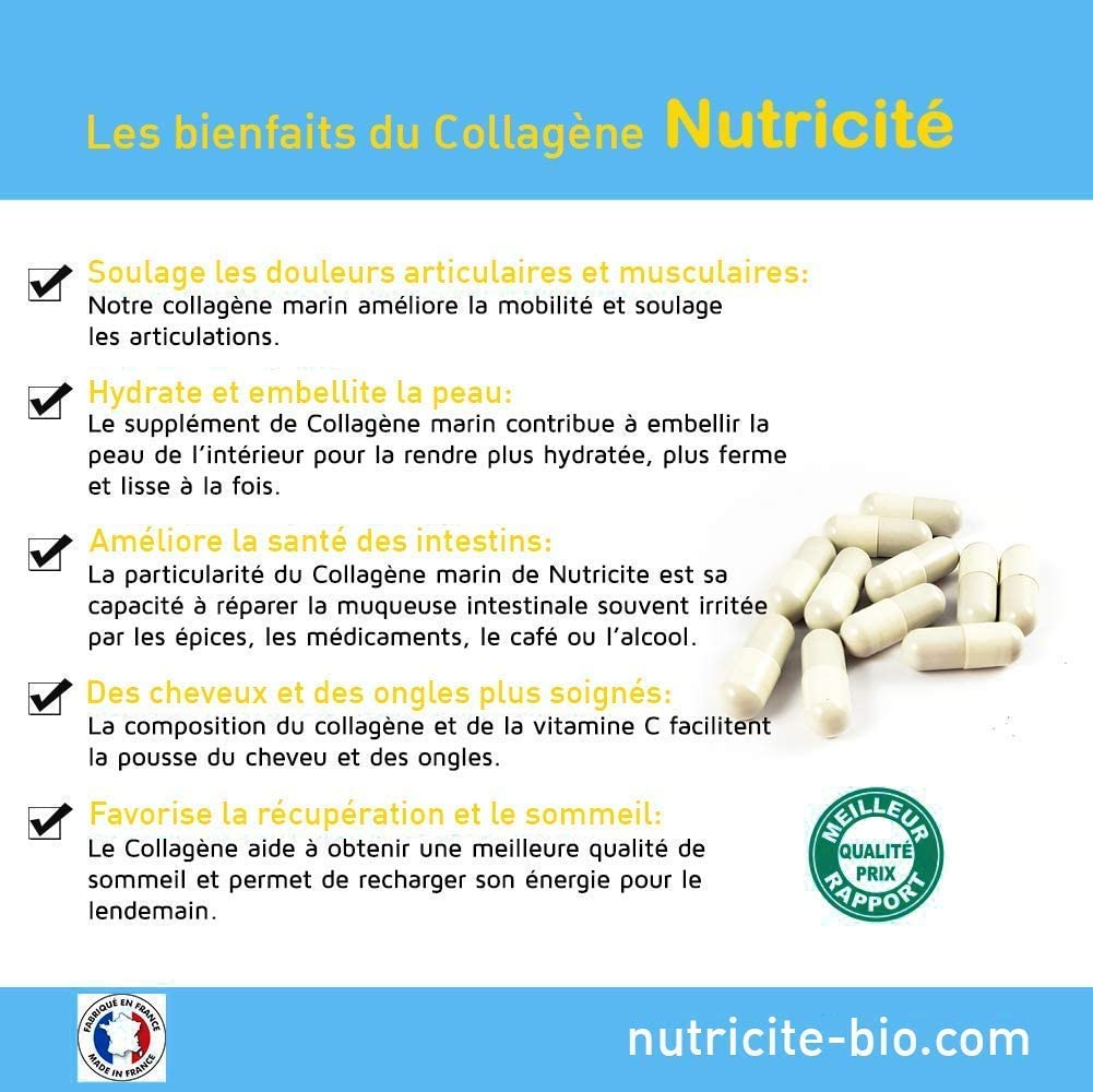 Colágeno marino + Vitamina C - 90 cápsulas-600 MG-Calidad francesa al precio correcto - Colágeno anti edad natural para una cara y una piel más ...