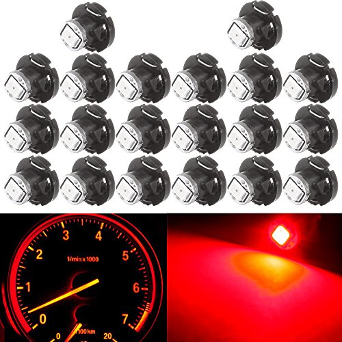 cciyu 20 Pack T4/T4.2 Neo Wedge 2835SMD LED A/C Climate Base Light Lamp Bulbs (red) ()