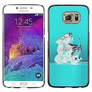 LECELL--Funda protectora / Cubierta / Piel For Samsung Galaxy S6 SM-G920 -- Blue Crystal Glass Teal Abstract Samurai --