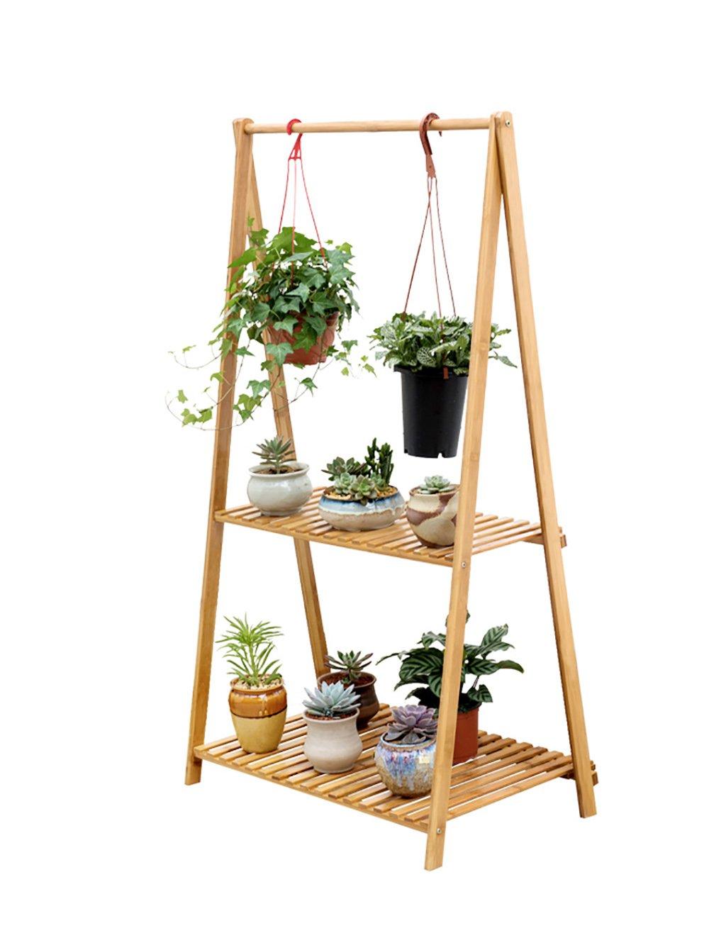 LB huajia ZHANWEI Gefaltete Blumenregal Kreative Bambus Mehrgeschossige Blumenregal Einfache Balkon Blumentopf Blumenregal (größe : L*W*H: 70 * 43 * 129cm)