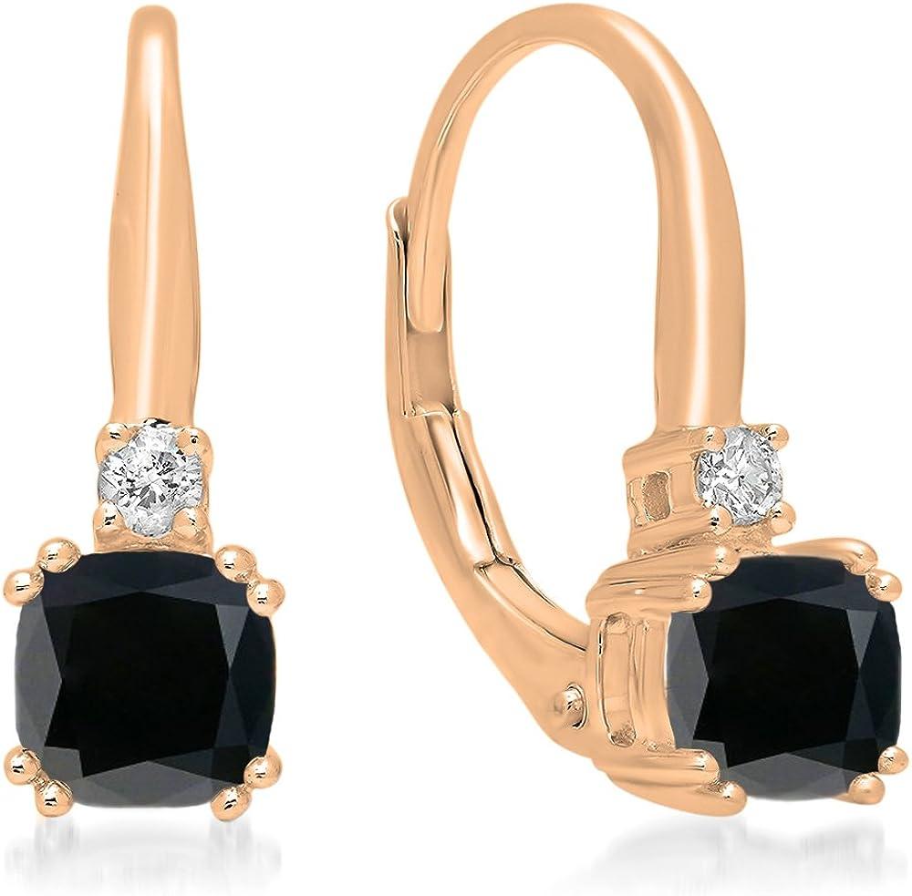 10K rosa oro 5mm cada cojín Gemstone & Round Diamante Señoras Pendientes de gota colgando