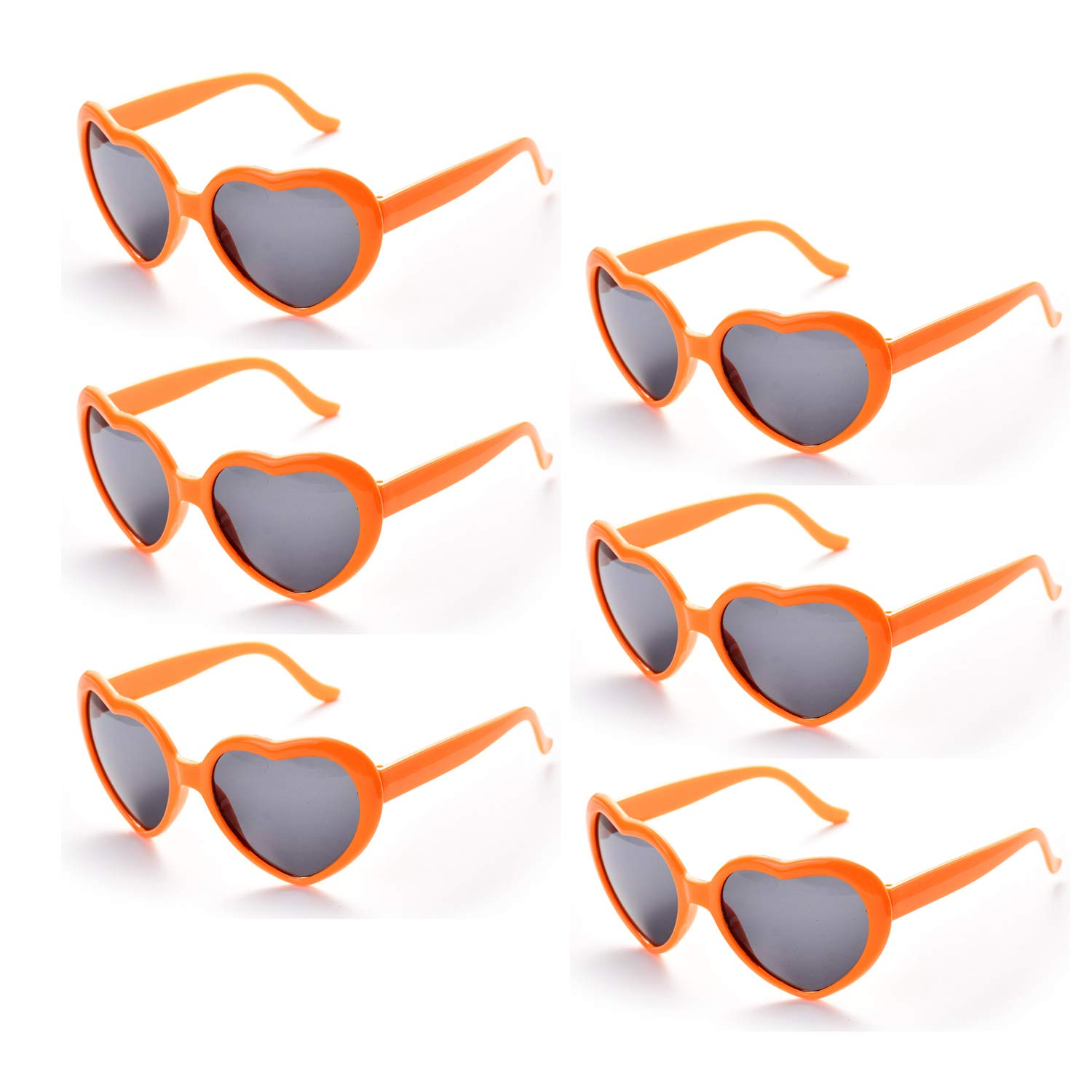 4cce19a642 Onnea 6 Pairs Neon Colors Heart Shape Party Favors Sunglasses Pack Bulk for  Kids Adults (6-Mix) Bensoco