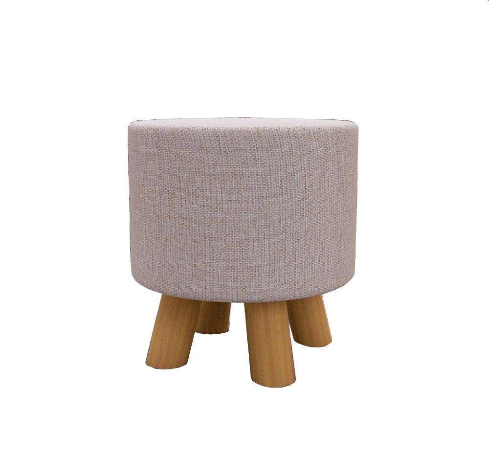 Wooinhome Round Chair Foot Stool Fabric,Designs-4 Wood Legs Furniture Round Ottoman Stool