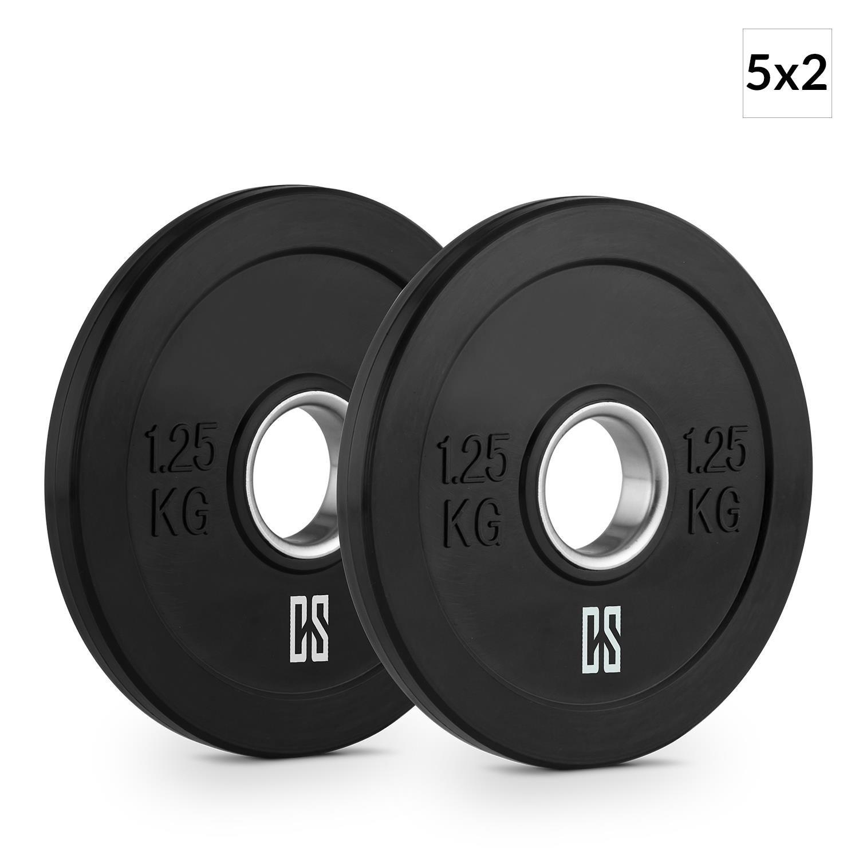 Capital Sports Elongate 1,25 Set Bumper Plate Gewichtsplatte Gummi 5 Paar 1,25