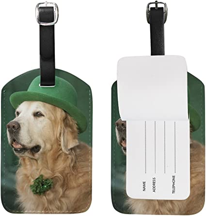 Chen Miranda Golden Retriever Saint Patrick Luggage Tag PU Leather Travel Suitcase Label ID Tag Baggage claim tag for Trolley case Kids Bag 1 Piece
