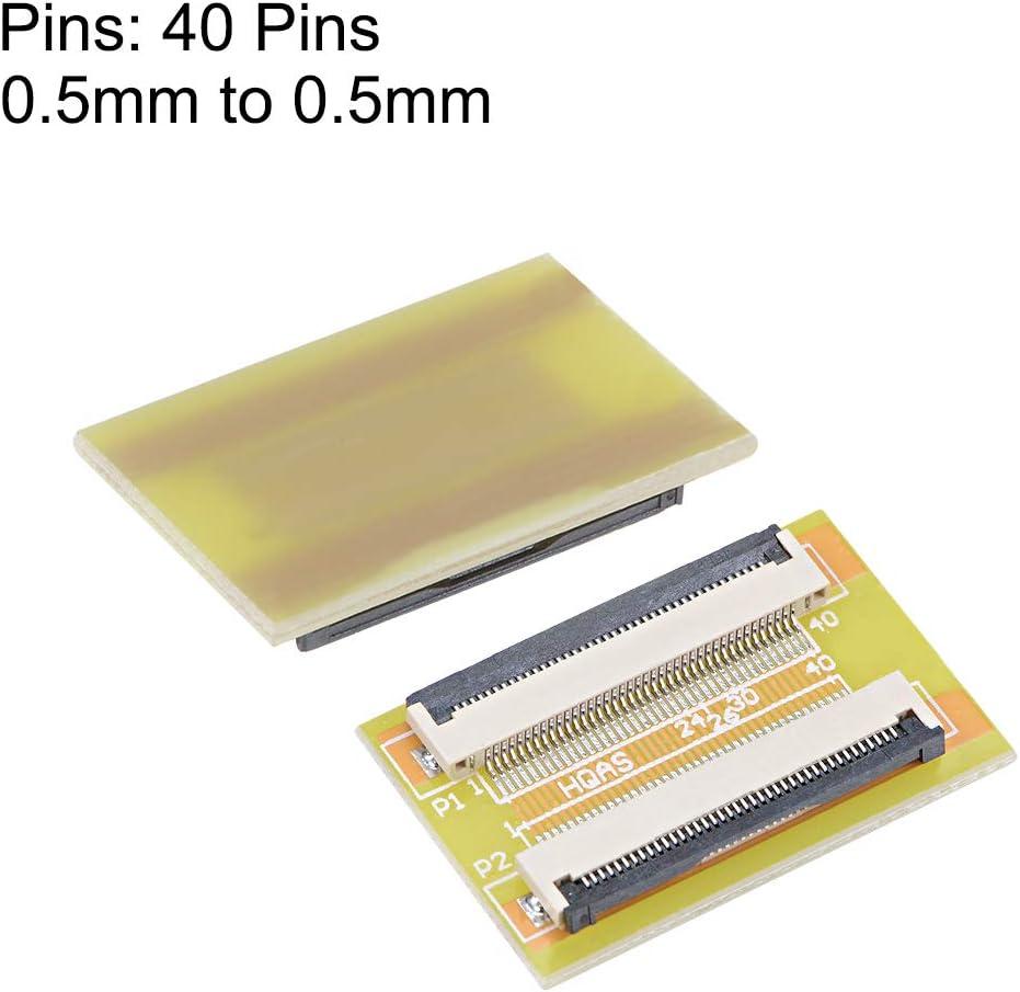 sourcing map Adaptador de Conector de extensi/ón de 40 Pines a 40 Pines de 0,5mm de Paso para FFC FPC Cable Extensor Zip