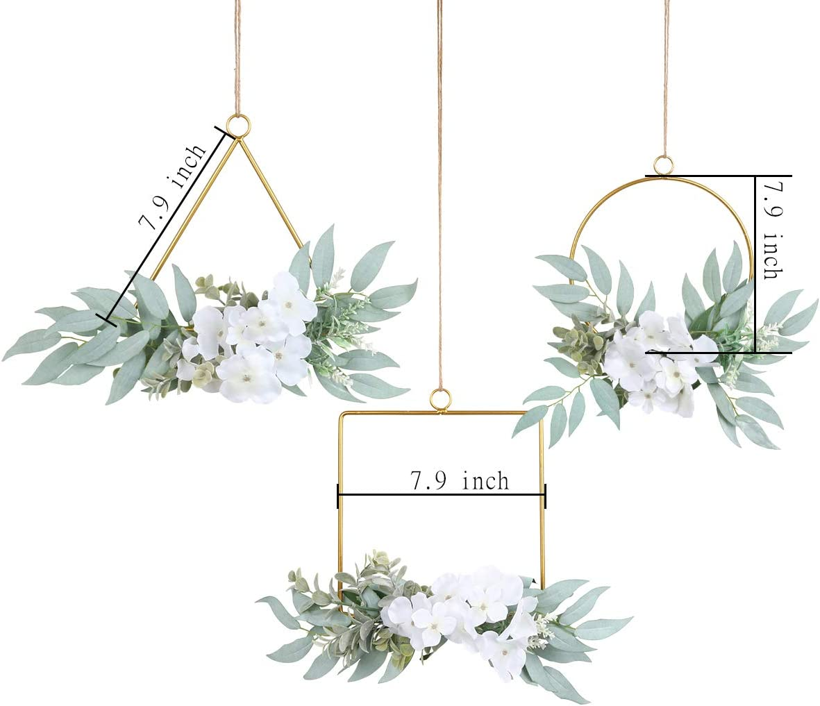 Pauwer Artificial Willow Leaves Metal Hoop Wreath Set of 3 Willow Leaves Greenery with White Silk Hydrangea Flower Hanging Wall Hoop Garland