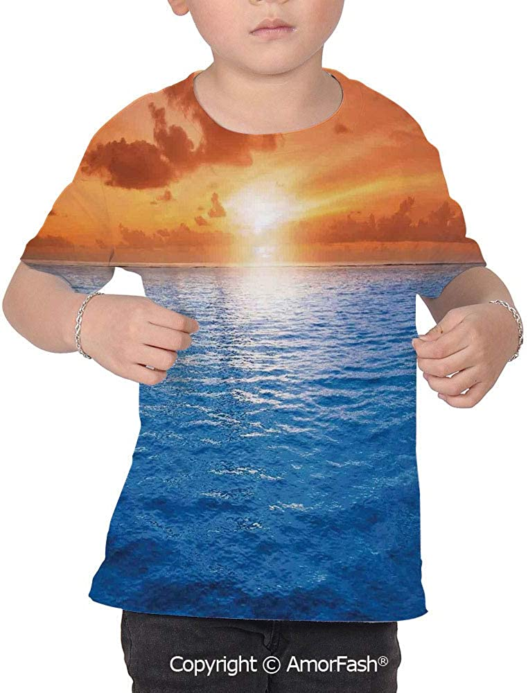 Mystic House Decor Childrens Classic Basic Printed Ultra Comfortable T-Shirt,R