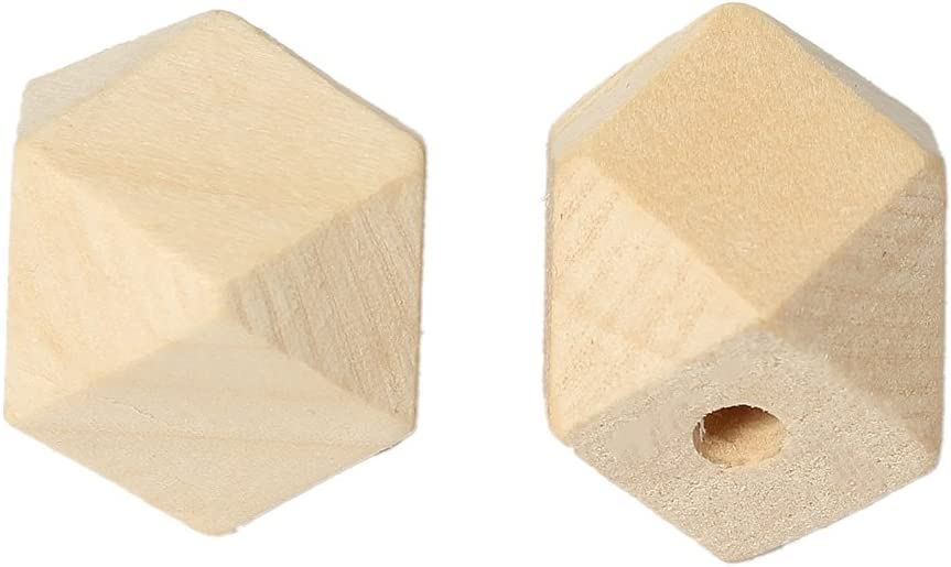 SiAura Material 10 Pcs Polygon Wooden beads geometric Shape For Selection nature D 20x20mm 20x20mm Hole 3,7-4,2mm