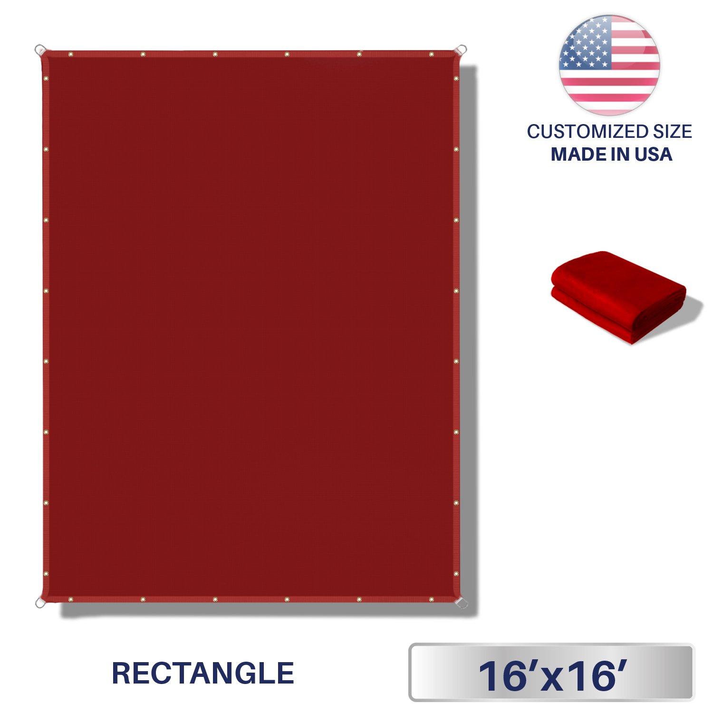 Windscreen4less 16'x16' Waterproof Sun Shade Sail Canopy Rectangle Sail Awning Tarp UV Shelter for Outdoor Patio Backyard - Custom Red Color