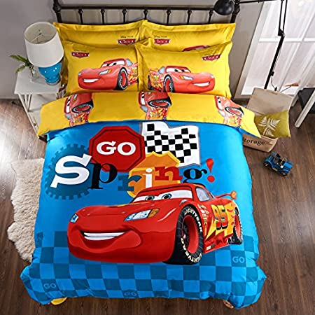 CASA 100% Cotton Kids Bedding Set Boys Lightning McQueen Duvet cover and Pillow cases and Fitted Sheet, 4 Pieces, Full