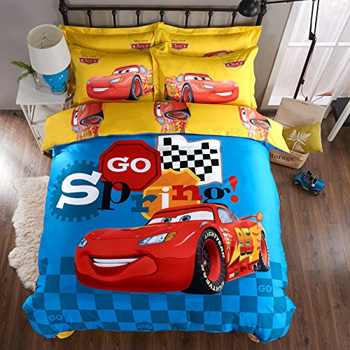 CASA 100% Cotton Kids Bedding Set Boys Lightning McQueen Duvet cover and Pillow cases and Flat sheet,4 Pieces,King