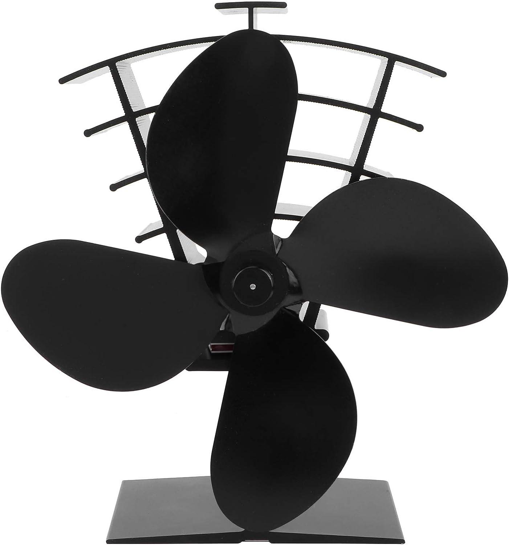 raguso Ventilador de Chimenea 4 aspas Ventilador de Estufa de energía térmica Distribución de Calor para Quemador de leña/leña para Estufas de leña Estufas de Gas Pellet