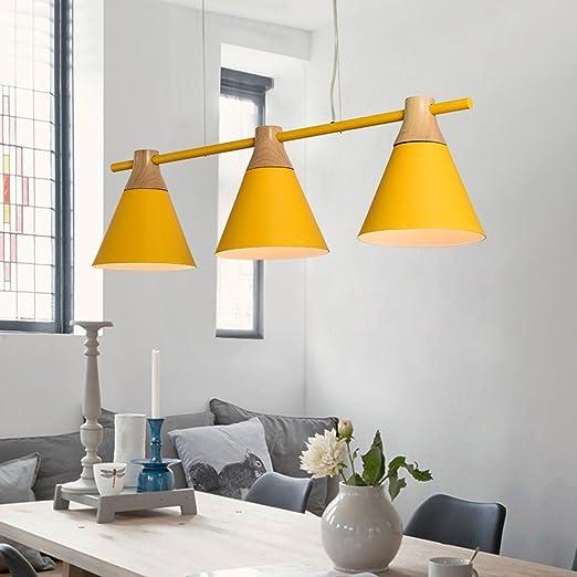 YAN Jun Nordic Luces Colgantes Lámpara Colgante de Madera ...