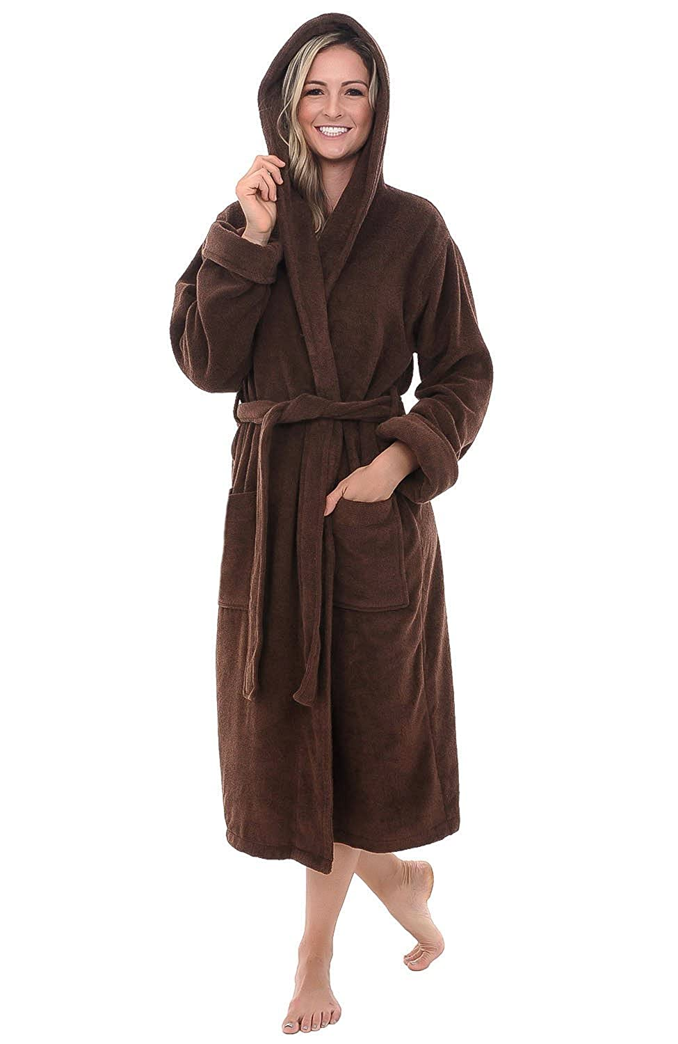 Alexander Del Rossa Womens Turkish Terry Cloth Robe Thick Hooded