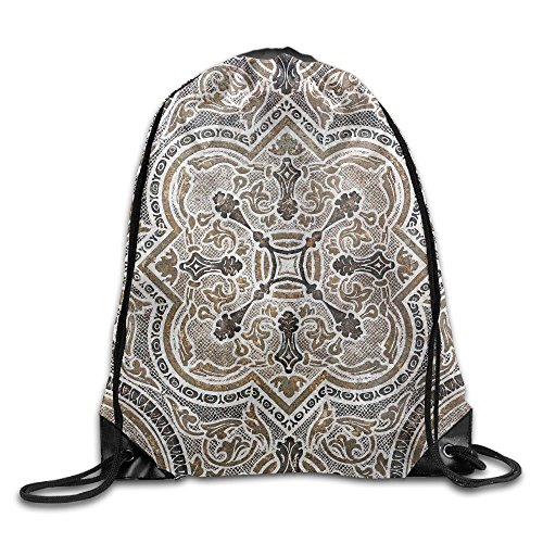Classic Travertine Tile - Yishuo Flower Ornamental Vintage Tile Classic Travertine Marble Texture Drawstring Pack Beam Mouth Gym Sack Shoulder Bags For Men & Women