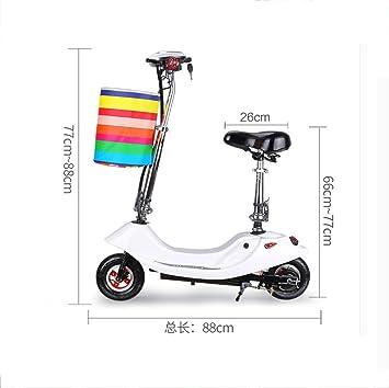 Mini bicicleta eléctrica plegable scooter 24V 12AH 300W para mujeres y niños bicicleta,White